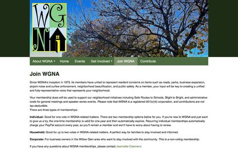 Screenshot of Signup Page wgna.net - Join WGNA - Willow Glen Neighborhood Association - captured Oct. 7, 2014