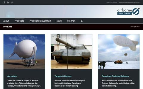 Screenshot of Products Page airborne-industries.ltd.uk - Products | Airborne Industries - captured Oct. 3, 2018