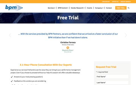 Screenshot of Trial Page bpmpartners.com - Free Trial | BPM Partners - captured Aug. 1, 2018