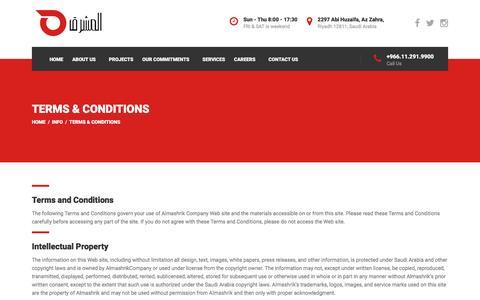 Screenshot of Terms Page almashrik.com - Terms & Conditions – Almashrik - captured Nov. 20, 2016