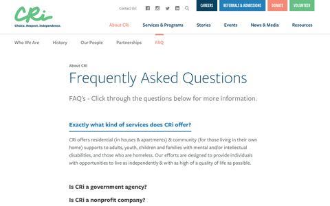 Screenshot of FAQ Page mycri.org - FAQ   CRi - Community - captured Nov. 1, 2018