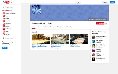 Screenshot of YouTube Page youtube.com - Wood and Plastic CNC  - YouTube - captured Oct. 22, 2014