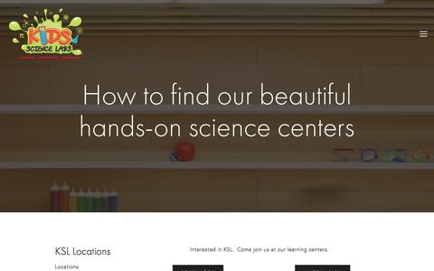 Screenshot of Locations Page kslchicago.com - Locations — Kids Science Labs - captured Feb. 12, 2016