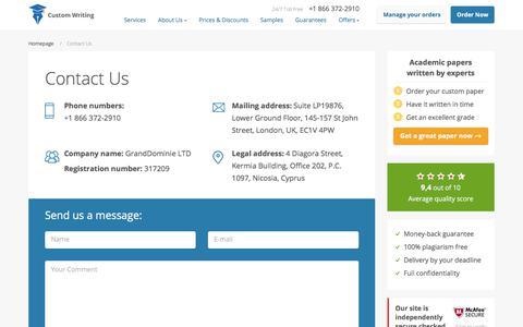 Screenshot of Contact Page custom-writing.org - Contact Us | Custom-Writing.org - captured Aug. 9, 2017