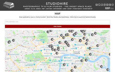 Screenshot of Maps & Directions Page studiohire.com - STUDIOHIRE - Map Studios - captured Oct. 1, 2018