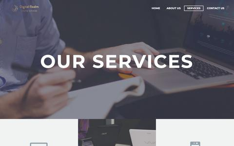 Screenshot of Services Page digitalrealm.co.nz - Digital Real - Services. From SEO and SMM through to websites and apps. - captured Dec. 9, 2018