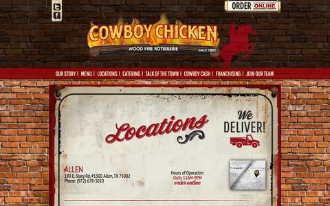 Screenshot of Locations Page cowboychicken.com - Locations | CowboyChicken - captured Dec. 6, 2015