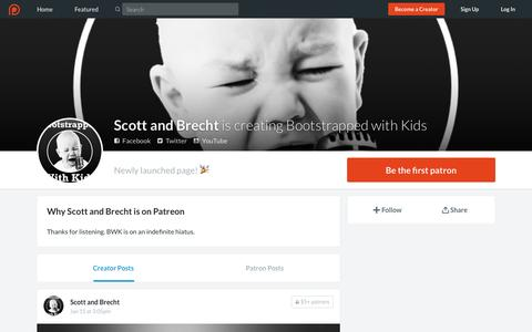 Screenshot of Support Page patreon.com - Scott and Brecht is creating Bootstrapped with Kids | Patreon - captured July 29, 2016