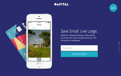 Screenshot of Home Page qapital.com - Qapital - Save Small. Live Large. - captured Jan. 14, 2015