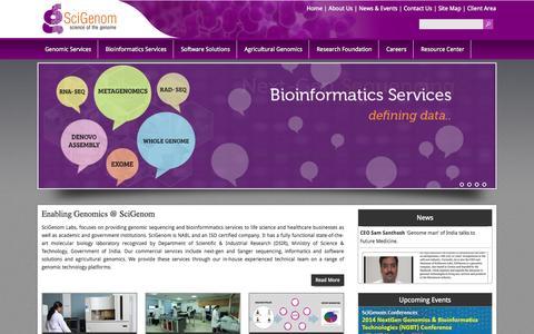 Screenshot of Home Page scigenom.com - SciGenom Labs - Science of the genome - captured Sept. 25, 2014