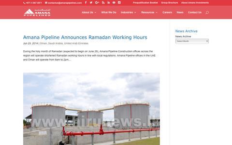 Screenshot of Press Page amanapipelines.com - News - Amana Pipeline Construction - captured Nov. 20, 2016