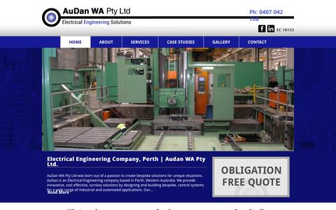 Screenshot of Home Page audan.com.au - Electrical Engineering Company Perth |AuDan Electrical Engineering | Taking care of tomorrow - captured Oct. 4, 2014