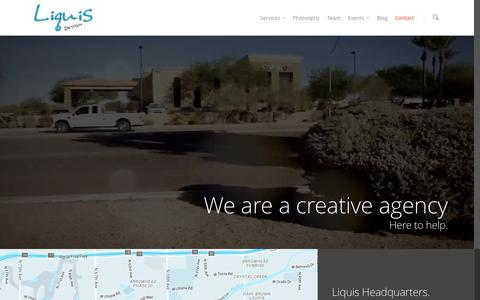 Screenshot of Contact Page liquisdesign.com - Contact Phoenix Area Graphic and Website Design - captured Dec. 10, 2015