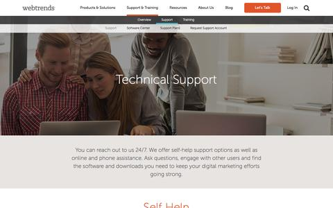 Screenshot of Support Page webtrends.com - Technical Support and Resources | Call Tech Support | Webtrends - captured Dec. 4, 2015