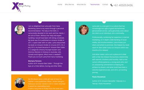Screenshot of Testimonials Page xanamarketing.com - Testimonials   Xana Marketing   Internet Marketing   Author Branding   eBook Marketing   Australia - captured Feb. 17, 2016