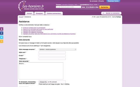 Screenshot of Support Page les-horaires.fr - Assistance | Les-horaires.fr - captured Sept. 18, 2014