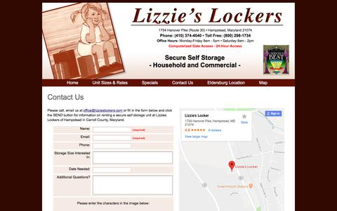 Screenshot of Contact Page Maps & Directions Page lizzieslockers.com - Contact Lizzies Lockers in Hampstead Maryland Secure Self Storage - captured July 3, 2018