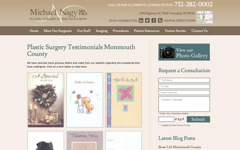 Screenshot of Testimonials Page drnagy.com - Plastic Surgery Testimonials Monmouth County, Cosmetic Surgery Success Stories Wall, NJ - captured Oct. 18, 2017