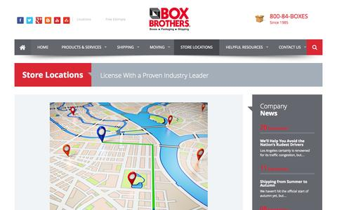 Screenshot of Locations Page boxbros.com - Official Store Locations - Box Brothers - captured Sept. 23, 2014