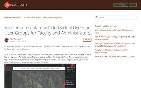 Screenshot of Support Page digication.com - Sharing aTemplate with Individual Users or User Groups for Faculty and Administrators – Digication Help Desk - captured Jan. 8, 2020