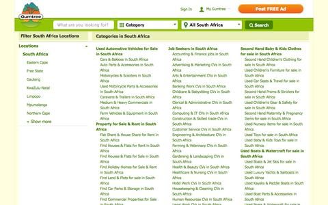 Screenshot of Locations Page gumtree.co.za - South Africa Classifieds   South Africa Gumtree - captured Sept. 19, 2014