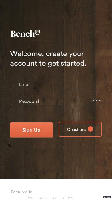 Screenshot of Signup Page  bench.co - Bench — Signup