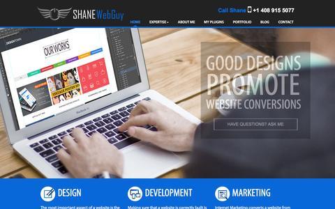 Screenshot of Home Page shanewebguy.com - Shane Clark - Web Development & Internet Marketing Expert - captured Jan. 22, 2016