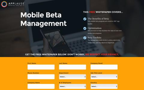 Screenshot of Landing Page applause.com - Mobile Beta Management Whitepaper - Applause: 360° App Quality - captured Aug. 12, 2016