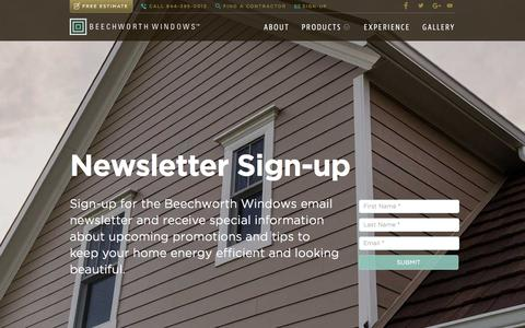 Screenshot of Signup Page beechworthwindows.com - Beechworth Windows - captured Feb. 7, 2016