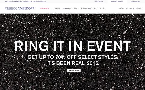 Screenshot of Home Page rebeccaminkoff.com - Rebecca Minkoff Online Store: Handbags, Clothing, Shoes, & Accessories  | Rebecca Minkoff - captured Dec. 23, 2015