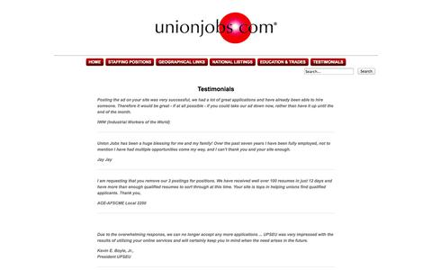 Screenshot of Testimonials Page unionjobs.com - Union Jobs Clearinghouse : Posting Information - captured Oct. 30, 2014