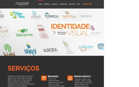 Screenshot of Home Page napse.com.br - Napse - Identidade Visual, Design, Propaganda, Publicidade, Embalagem - Londrina - captured Nov. 28, 2016