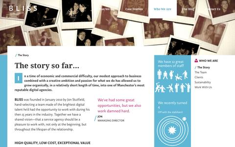 Screenshot of About Page thisisbliss.com - The Story of our Digital Angency  | BLISS Manchester - captured Oct. 5, 2014