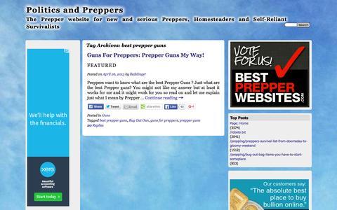 Screenshot of politicsandpreppers.com - best prepper guns | Politics and Preppers - captured April 14, 2016