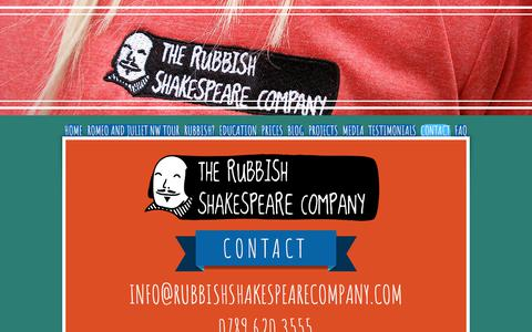 Screenshot of Contact Page rubbishshakespearecompany.com - Rubbish Shakespeare Company Contact - captured Sept. 21, 2018
