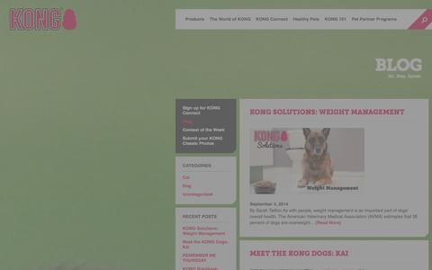 Screenshot of Blog kongcompany.com - KONG Blog | Dog & Cat news & informational articles | KONG Company - captured Sept. 23, 2014
