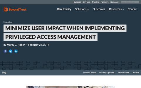 Screenshot of Team Page beyondtrust.com - Minimize User Impact When Implementing Privileged Access Management | BeyondTrust - captured Jan. 3, 2020
