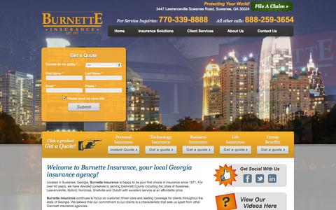 Screenshot of Home Page burnetteinsurance.com - Burnette Insurance | Georgia Insurance | GA Insurance - captured Oct. 5, 2014
