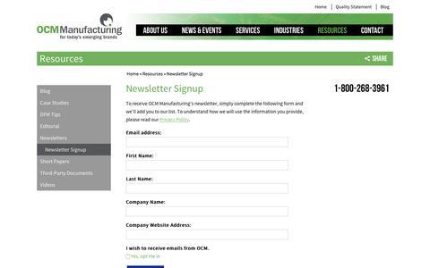 Screenshot of Signup Page ocmmanufacturing.com - Newsletter Signup - OCM Manufacturing Inc. - captured Nov. 26, 2016