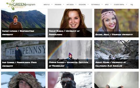 Screenshot of Testimonials Page thegreenprogram.com - The GREEN Program -  Student Portfolio - captured Oct. 29, 2014