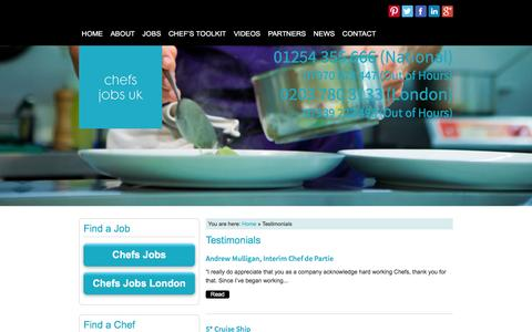 Screenshot of Testimonials Page chefsjobsuk.com - Chefs Jobs UK Reviews - captured March 3, 2016