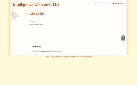 Screenshot of About Page intelligence-delivered.co.uk - About Us - Intelligence Delivered Ltd - captured Sept. 30, 2014