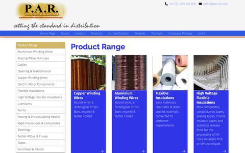 Screenshot of Products Page par.uk.com - Product Range - Par UK Ltd - captured Sept. 27, 2018