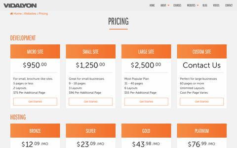 Screenshot of Pricing Page vidalyon.com - Pricing | Vidalyon Studios - captured Nov. 5, 2017