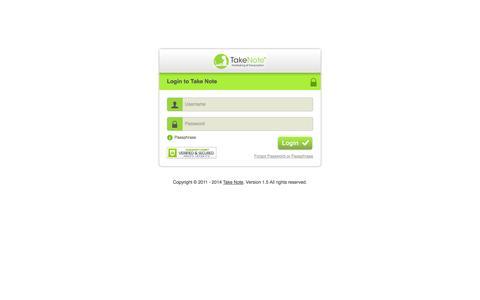 Screenshot of Login Page takenotetyping.com - Take Note - captured Oct. 9, 2014