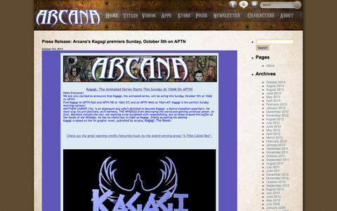 Screenshot of Press Page arcana.com - Arcana Studio: arcana.com - captured Oct. 4, 2014