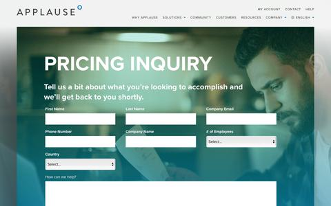Screenshot of Pricing Page applause.com - Pricing Inquiry | Applause - captured Jan. 30, 2018