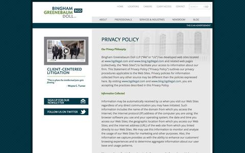 Screenshot of Privacy Page bgdlegal.com - Privacy Policy | Bingham Greenebaum Doll LLP - captured Oct. 1, 2014