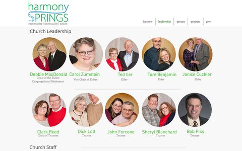 Screenshot of Team Page harmonysprings.org - harmonyspringschurch | leadership - captured Sept. 27, 2018