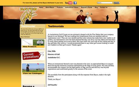 Screenshot of Testimonials Page baycogolf.com - Testimonials - captured June 1, 2017